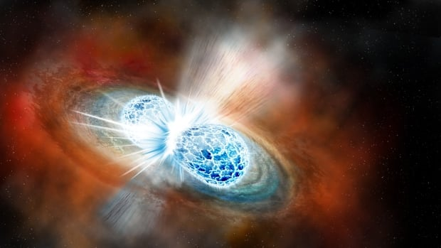 An artist's rendering of two merging neutron stars. On Aug. 17, a gravitational wave created by such an event was detected, which allowed astronomers to also witness it visually for the first time.