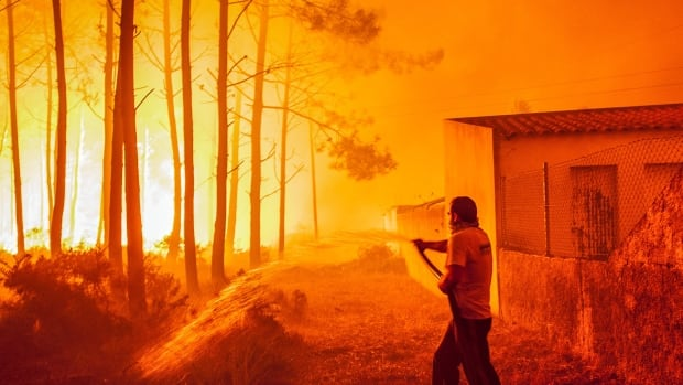 A man fights with a forest fire Monday in Vieira de Leiria, Marinha Grande, in central Portugal. Thousands of firefighters are fighting several wildfires all over the country.
