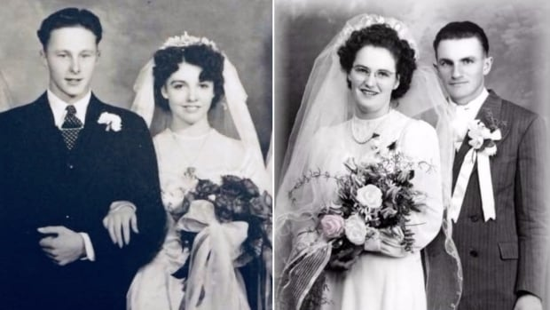 Burton and Clara Bodie, left, and Regina and Frank Tress, right, got married in the Fall of 1947.