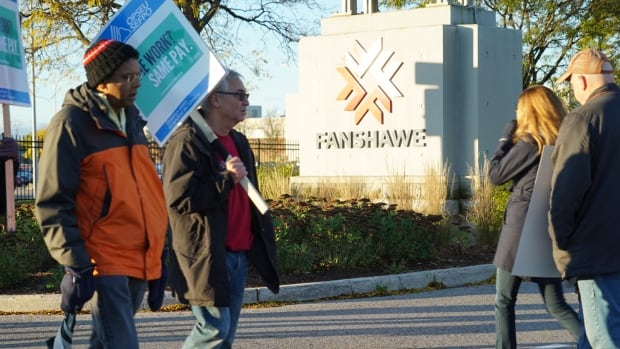 Striking librarians, professors and counsellors picket outside Fanshawe College. The strike affects about 500,000 students province-wide.