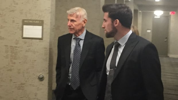 Dr. William Mather (left) at a disciplinary hearing Monday being conducted by the Alberta Dental Association and College.