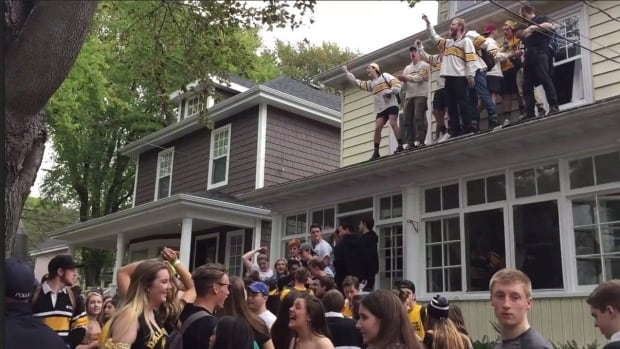 People are shown in a screengrab from a video of a Dalhousie homecoming party over the weekend. One bash in a residential neighbourhood was attended by an estimated 1,500 people.
