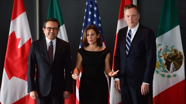 Minister of Foreign Affairs Chrystia Freeland, Mexico's Secretary of Economy Ildefonso Guajardo Villarreal, left, and Ambassador Robert E. Lighthizer, the United States Trade Representative, will attend a working lunch and hold meetings on Wednesday.