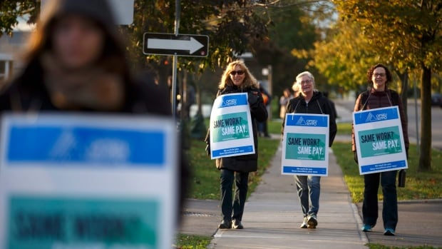 Striking faculty walk the picket line out front of Humber College Lakeshore campus on Monday, October 16, 2017. Faculty at 24 Ontario colleges went on strike late Sunday, affecting more than 500,000 students.