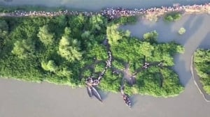 Drone video shows thousands of Rohingya refugees fleeing Myanmar