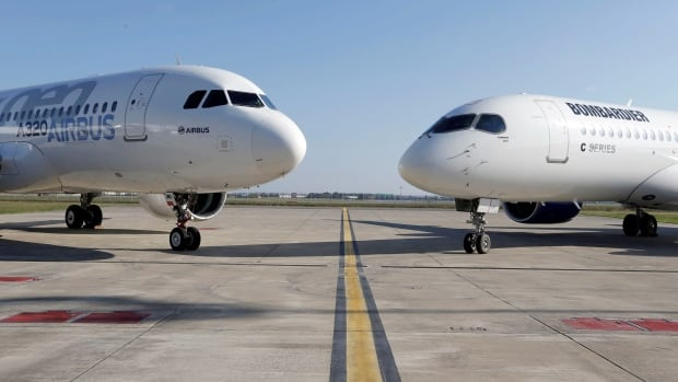 An Airbus A320neo aircraft and a Bombardier CSeries aircraft are pictured in October. Bombardier and Boeing will face each other in the final arguments of their trade battle.