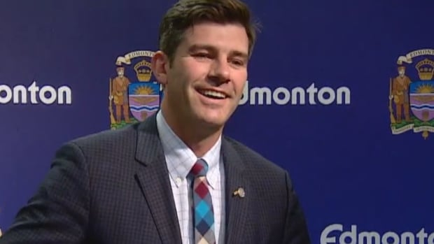 Don Iveson is all smiles as he begins his news conference after winning a second term as Edmonton mayor Monday.
