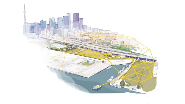 A sketch depicts the hyper-connected new Toronto neighbourhood envisioned by Sidewalk Labs.