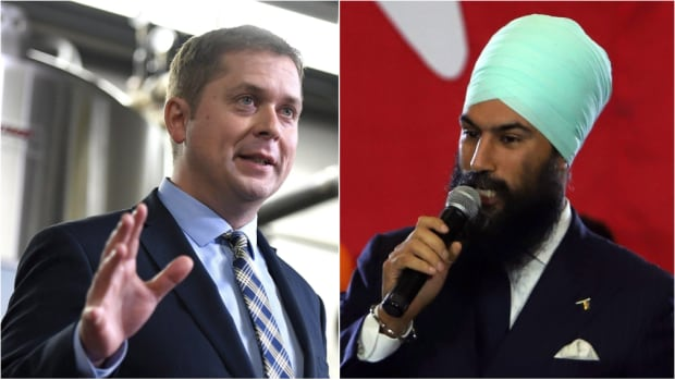 Two byelections Monday will serve as the first for Conservative Leader Andrew Scheer, left, and NDP Leader Jagmeet Singh as leaders of their respective parties.