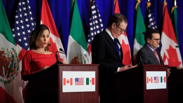 Foreign Affairs Minister Chrystia Freeland, left, with U.S. Trade Representative Robert Lighthizer, centre, and Mexico's Secretary of Economy Ildefonso Guajardo Villarreal, speaks after the fourth round of NAFTA negotiations ended Tuesday.