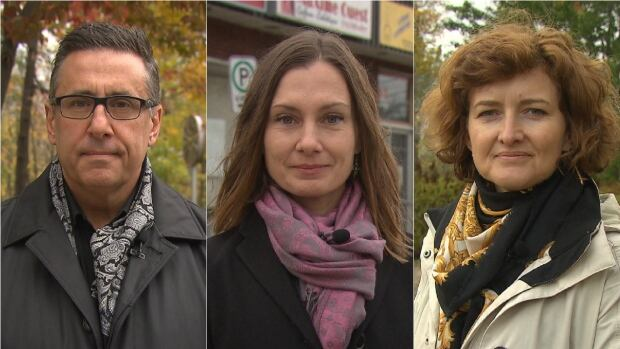 Mayoral incumbent Jim Beis (left) is facing off against Justine McIntyre of Vrai Changement pour Montreal (centre) and Projet Montréal's Hélène Dupont (right).