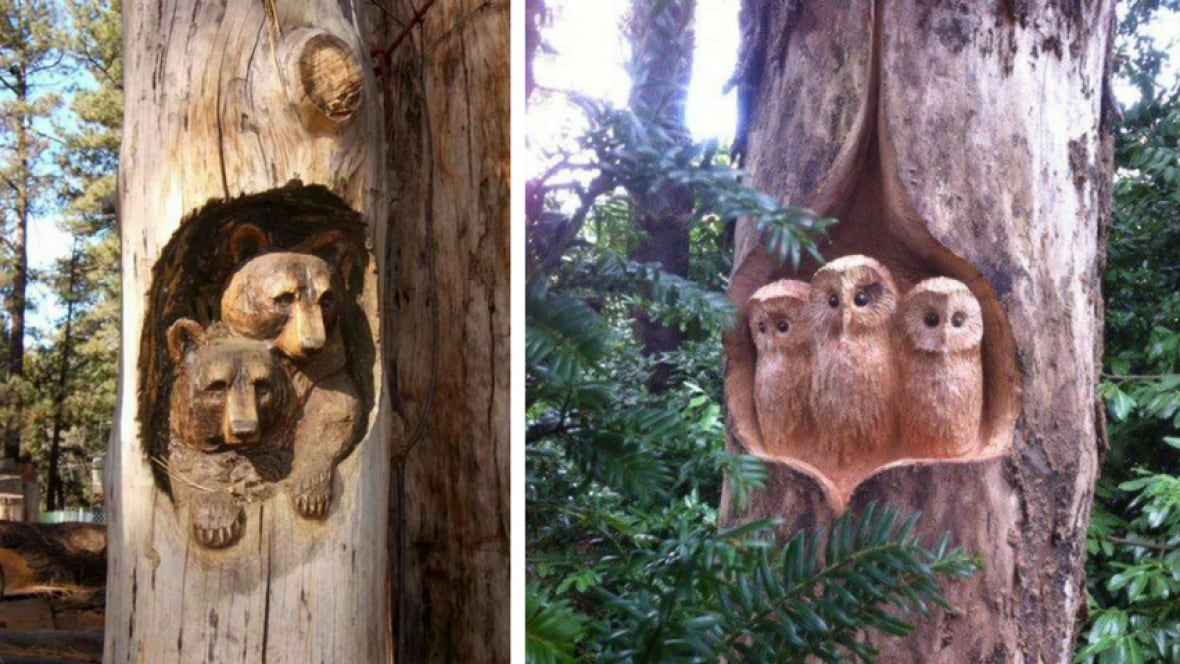 Calgary woodcarver crafts stunning home for squirrel
