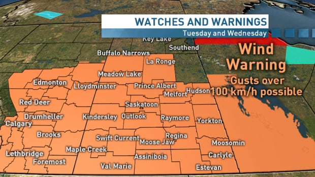 Environment Canada has issued a wind warning for southern and central Saskatchewan as province braces for damaging winds.