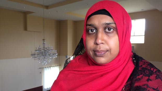 Naila Kibria, shown here at the Gatineau Mosque, says women who wear the niqab face covering should be able to access public services 'without their belief system or their way of life getting in the way.'