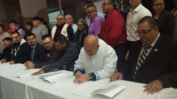 Seven Inuit, Cree, Naskapi, Innu, and Métis groups signed the co-management agreement Tuesday in Montreal.