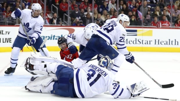 Toronto goaltender Frederik Andersen gets some help from his defence against Washington's Evgeny Kuznetsov in the Leafs' 2-0 win over the Capitals on Tuesday.