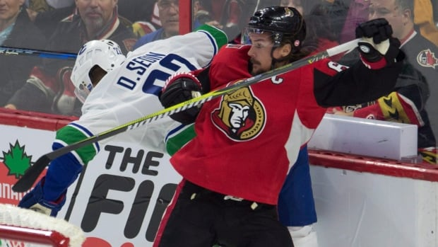 Ottawa Senators defenceman Erik Karlsson, right, makes his season debut Tuesday against the Vancouver Canucks after recovering from foot surgery.