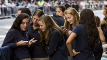 school uniform teenagers teens gossip phone smartphone