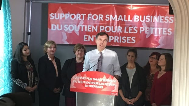 Finance Minister Bill Morneau speaks at an event in Hampton, N.B., on Wednesday morning.