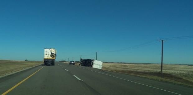 Semi toppled by wind in Saskatchewan