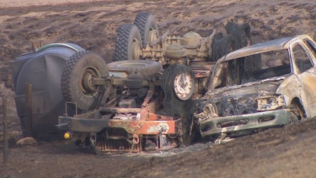 water truck and other vehicle south of Burstall October 18 2017
