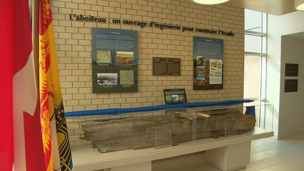 An aboiteau exhibit was unveiled Wednesday at the engineering department of the University of Moncton.