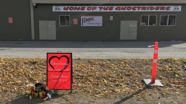 A makeshift memorial for the three men killed in an ammonia leak at the Fernie Memorial Arena.