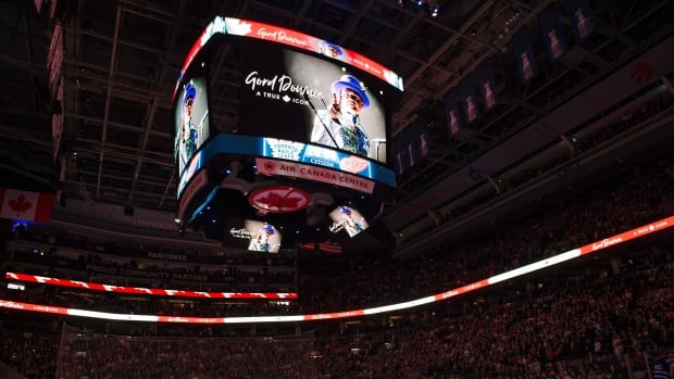 A tribute photo of the Tragically Hip lead singer Gord Downie, 53, who died on Tuesday night, was shown on the scoreboard prior to the game.