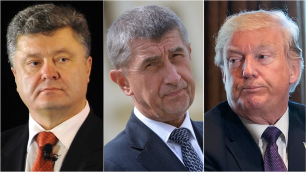 Several countries have recently seen men of extreme wealth with little political experience reach the highest echelons of power. From left: Petro Poroshenko, president of Ukraine; Czech billionaire and presidential candidate Andrej Babis; U.S. President Donald Trump.