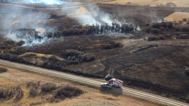 The fire near Burstall, Sask. covered more than 30,000 hectares while the Tompkins fire was about 4,000 hectares in size.