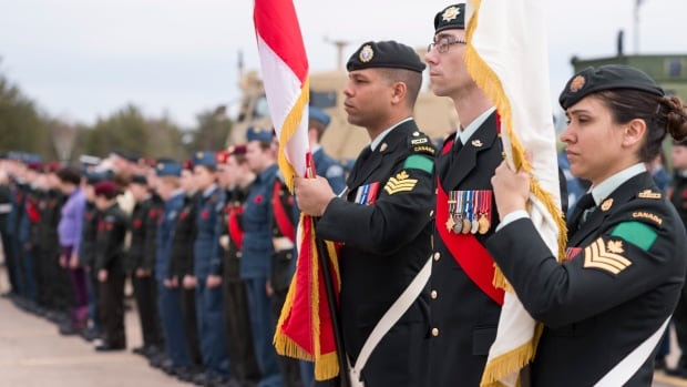 Soldiers of Garrison Petawawa on seen on parade in this April 2017 file photo. New figures show the rate of conviction for sexual assault in Canadian military justice system are well below civilian courts.