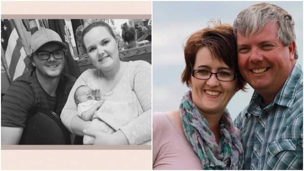 Evan Wedrick — left, with his wife Kymberleigh and his newborn daughter —  and his father, Ron Wedrick — at right with wife Twila — remain in an intensive care unit after suffering burns while fighting wildfires near Tompkins, Sask.
