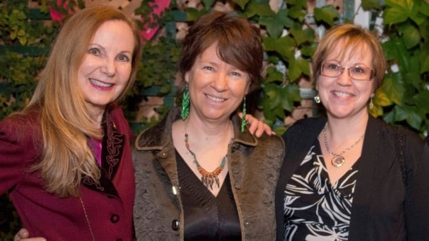 Cathy Elliott (centre) is being remembered by her colleagues at DAREarts, including founder Marilyn Field (left) and Brenda Norton (right).
