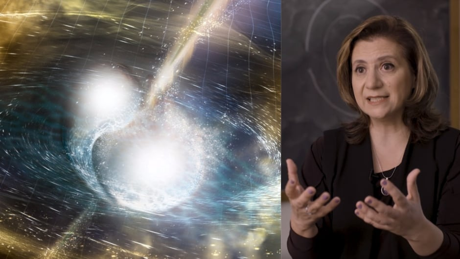 Vicky Kalogera (right) is among the many astronomers involved in studying the collision of the two stars depicted in an illustration on the left.