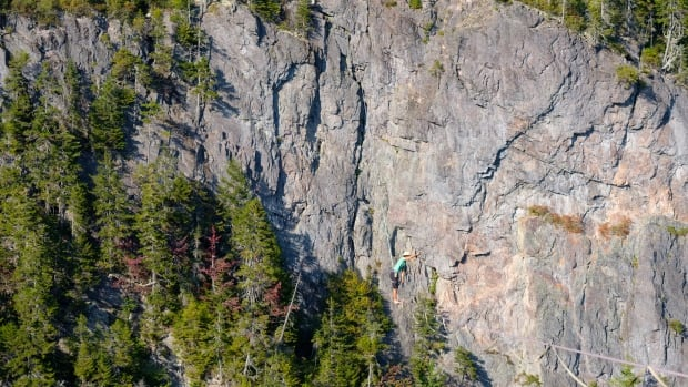 Cael Trudeau-Cauchon slacklined across Walton Glen Gorge in St. Martins