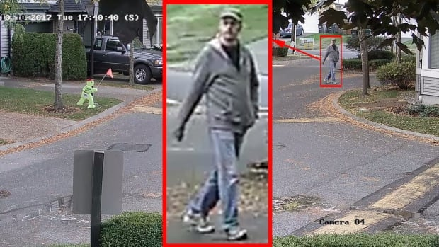 Surveillance footage shows a man suspected in two groping incidents in Surrey's Clayton Heights neighbourhood.