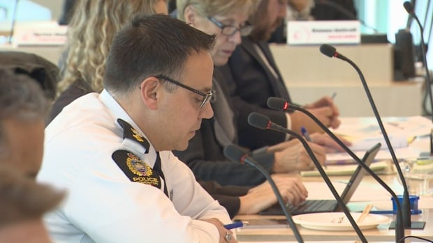 Insp. Carlos Cardoso speaks at an Edmonton police commission meeting at city hall on Thursday.