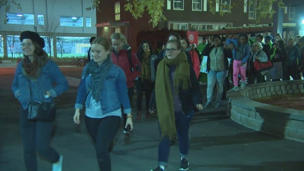 People went for a short march after a rally at the University of Winnipeg for Take Back the Night Thursday.