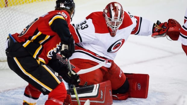 Carolina Hurricanes goalie Scott Darling's 24 saves paved the way for his team's 2-1 win over the Calgary Flames Thursday.
