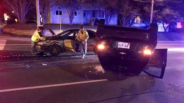 The driver of this car was taken to hospital with minor injuries Thursday night after an accident at the intersection of Thorburn Road and O'Leary Avenue.