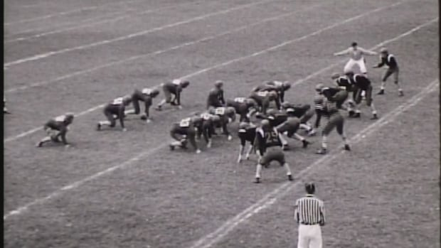 A still from a 41-0 win for the Red Bombers against Acadia University in 1958.