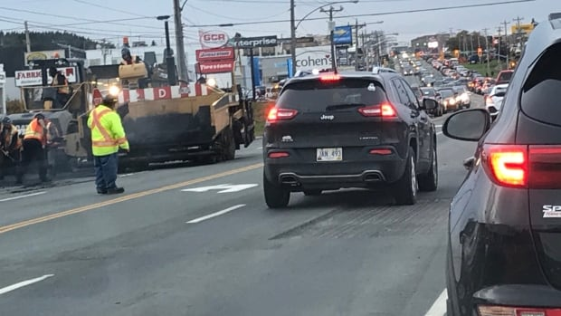 St. John's Mayor Danny Breen with traffic backing up on Kenmount Road, the city will stop doing roadwork in opposing lanes during rush hour on the busy street.