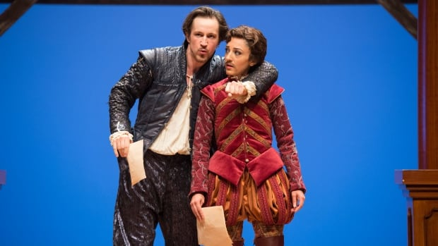 Andrew Chown as William Shakespeare and Bahareh Yaraghi as Viola de Lesseps (in disguise as a male actor) have a believably steamy chemistry in the Royal MTC and Citadel Theatre's crowd-pleasing production of Shakespeare in Love.