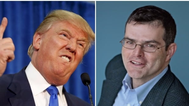 Scott Stossel, right, the keynote speaker at a conference at the Banff Centre this weekend called The Democracy Project: Journalism in the Age of Alt-Facts, says politicians like U.S. president Donald Trump, left, are contributing to the rise of so-called fake news.
