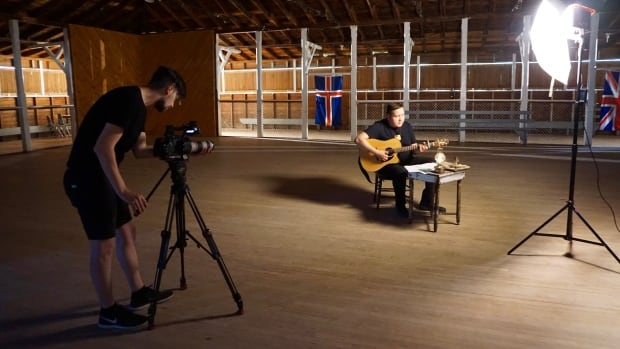 William Prince, right, during a shoot for a video for his new song, The Ballad of John Ramsay.