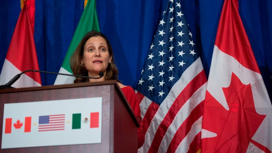"""Canada's foreign minister, Chrystia Freeland, has said that that dissolving NAFTA would """"turn back the clock on 23 years of predictability, openness and collaboration."""""""
