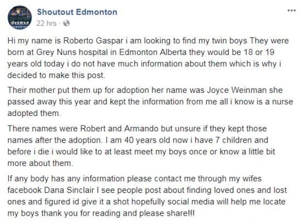 Post seeking sons