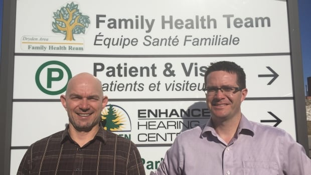 Dr. Brian Lorbetskie (left) and Dr. Bruce Cook are both graduates of the Northern Ontario School of Medicine and work together at the Dryden Regional Health Centre, about 350 kilometres west of Thunder Bay.