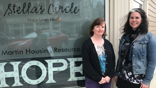 Lisa Browne, left, and Keri Chambers, right, stand outside the Brian Martin Housing Resource Centre, operated by Stella's Circle.