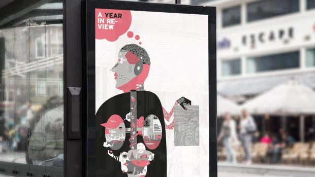 Graphic artist Aidan Searle was a regional winner for his digital print, A Year In Review.